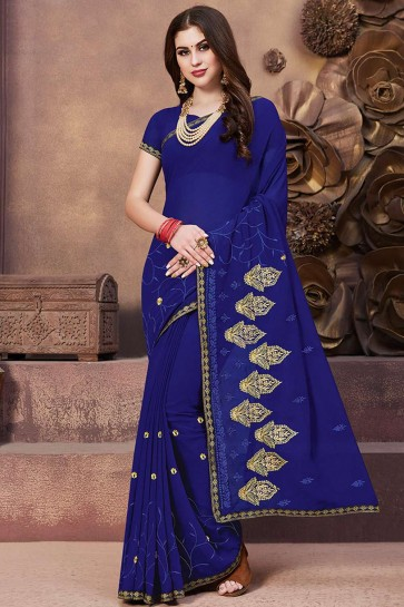 Sari Georgette Bleu Royal