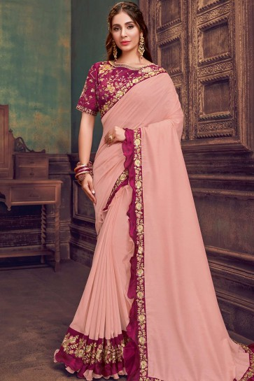 Baby pink Georgette and silk  Party Wear Saree