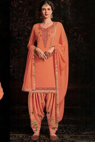 Costume Patiala En Coton Orange Et Satin